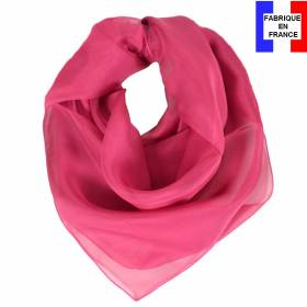 Carré en soie 70cm rose byzantin made in France