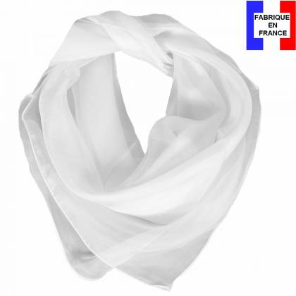 Carré en soie 70cm blanc made in France
