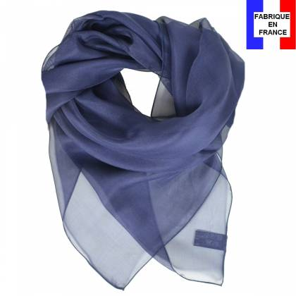 Carré en soie 70cm bleu marine made in France
