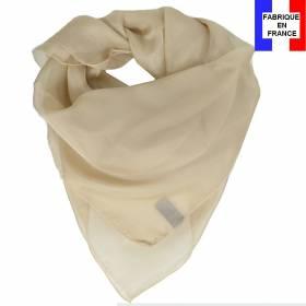 Carré en soie 70cm beige made in France