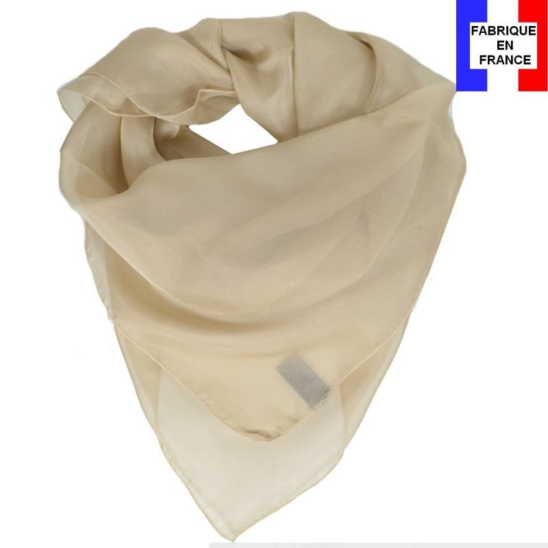 Carré en soie 70cm beige made in France 33bd00bbc03