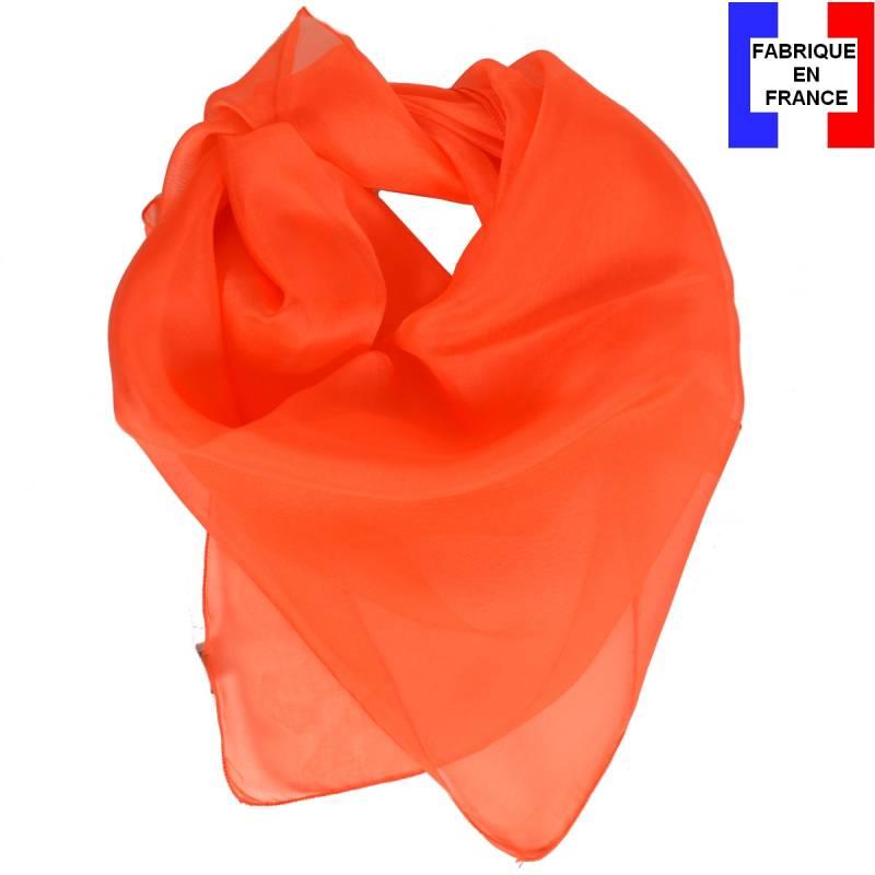 Carré en soie 70cm orange made in France