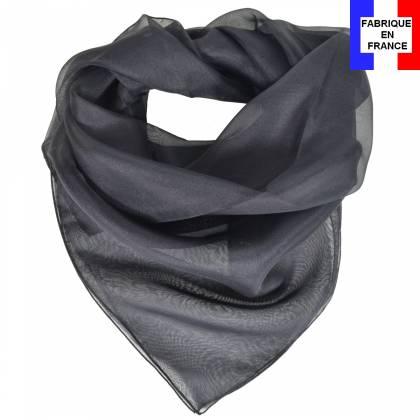 Carré en soie 70cm noir made in France
