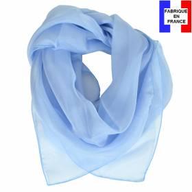 Carré en soie 70cm bleu ciel made in France