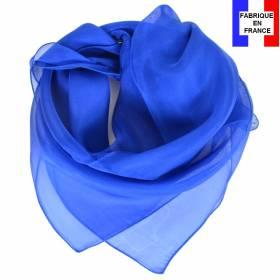 Carré en soie 70cm bleu saphir made in France