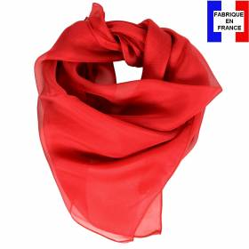 Carré en soie 70cm rouge made in France