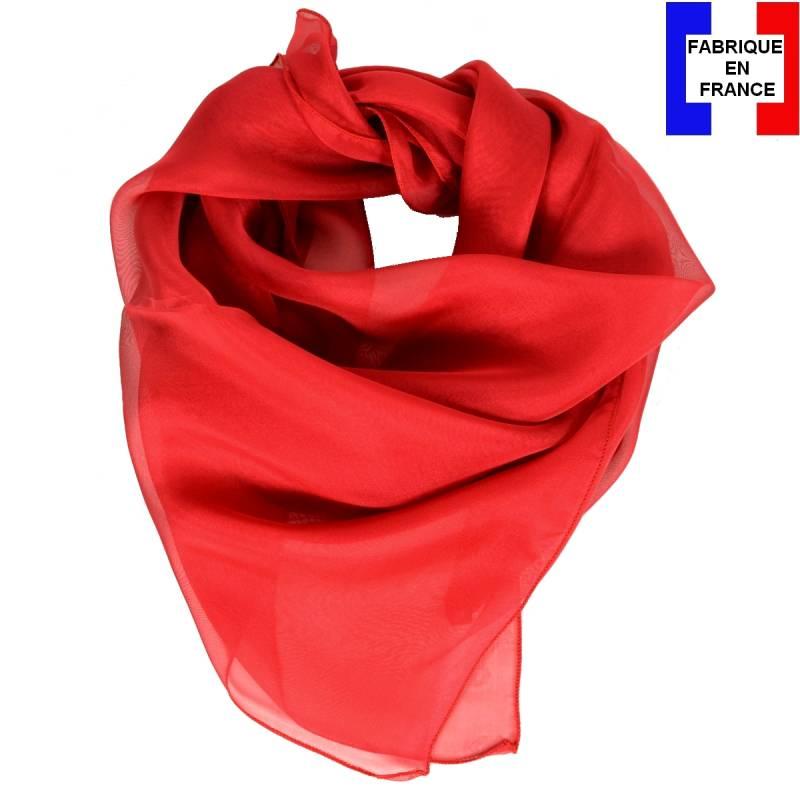 Carré en soie 70cm rouge made in France