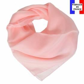 Carré en soie 70cm rose clair made in France