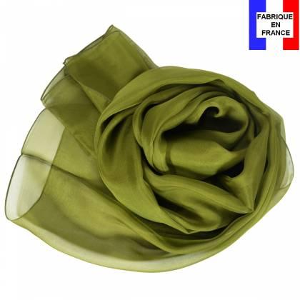 Echarpe en soie kaki unie made in France