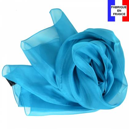 Echarpe en soie bleu unie made in France