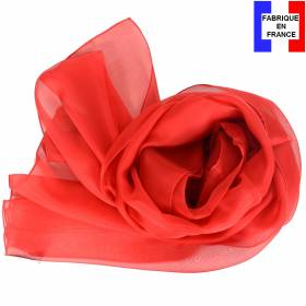 Echarpe en soie rouge unie made in France