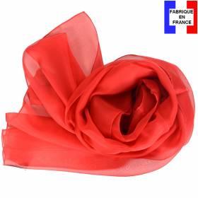 Echarpe en soie rouge unie made in France