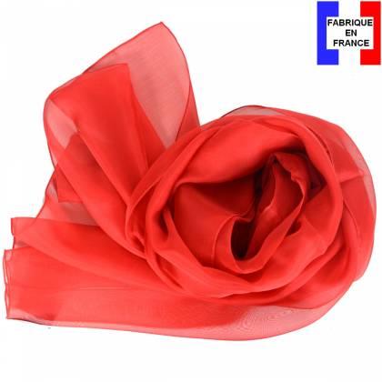 Echarpe en soie rouge unie made in France 503f8f5273c