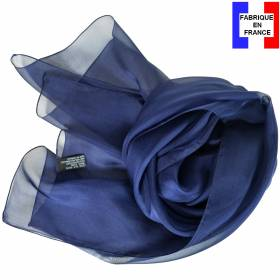 Echarpe en soie bleu marine unie made in France