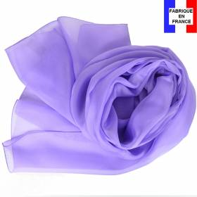 Echarpe en soie mauve unie made in France