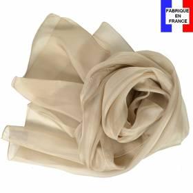 Echarpe en soie beige unie made in France