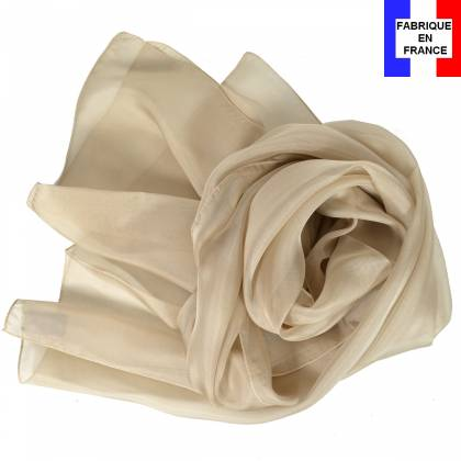 Echarpe en soie beige unie made in France