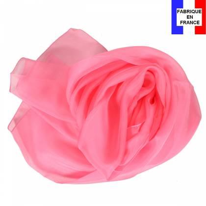 Echarpe en soie rose bonbon unie made in France