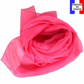 Echarpe en soie rose fuchsia unie made in France