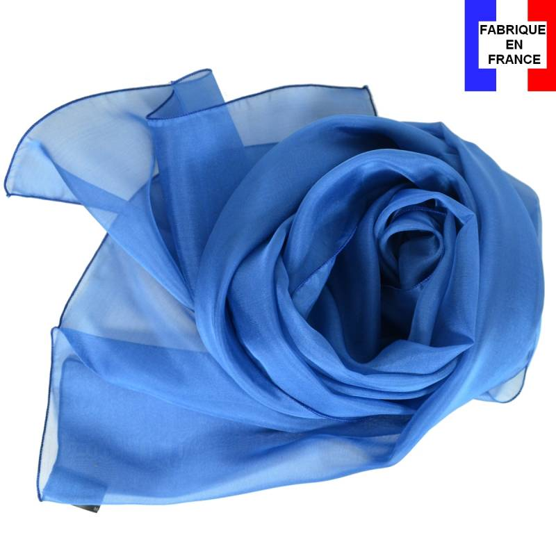 Echarpe en soie bleu cobalt made in France