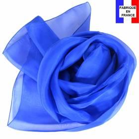 Echarpe en soie bleu électrique made in France