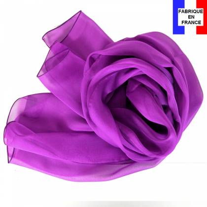 Echarpe en soie magenta unie made in France