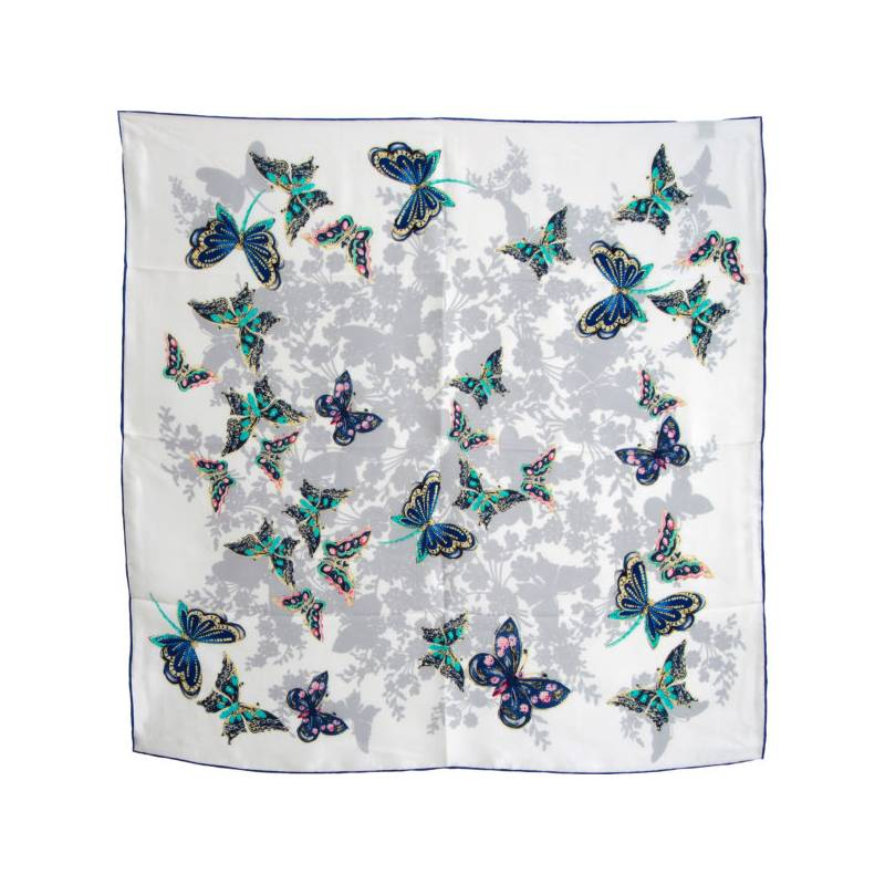Foulard carré soie blanc et bleu à papillons f23eba6f70f