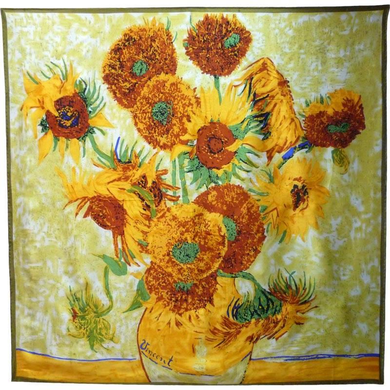 Carré de soie Les tournesols de Van Gogh