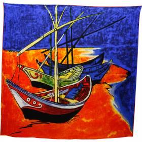 Foulard carré motif Barques des Saintes-Maries de la mer
