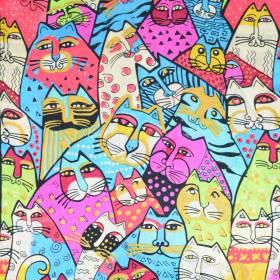 Echarpe en soie à motif tableau : multi chats