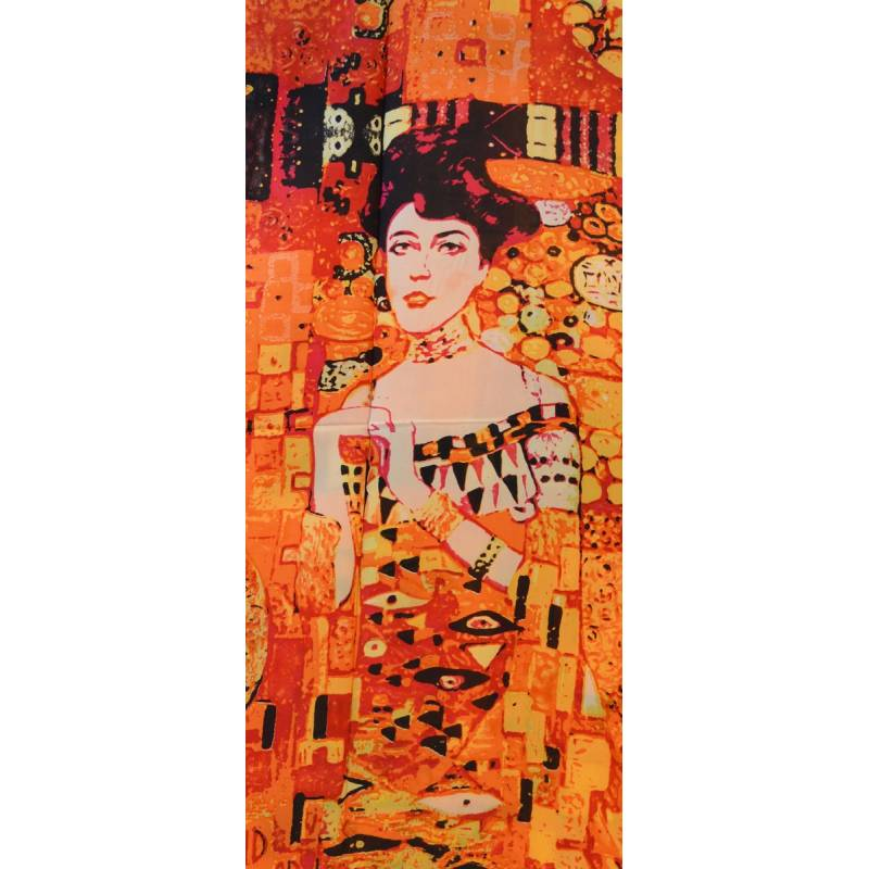 Echarpe en soie Portrait d'Adele Bloch-Bauer vs orange