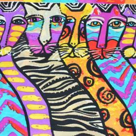 Echarpe en soie à motif tableau : chats