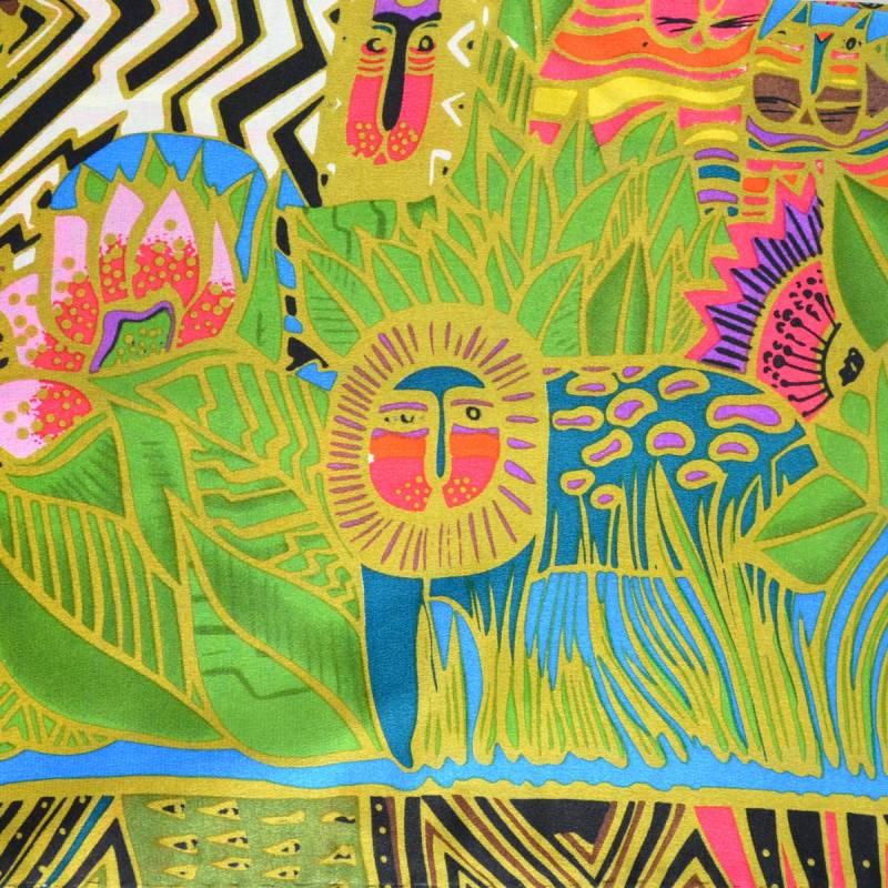 Echarpe en soie à motif tableau : jungle