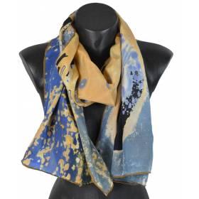 Echarpe en soie Le baiser Klimt vs bleu