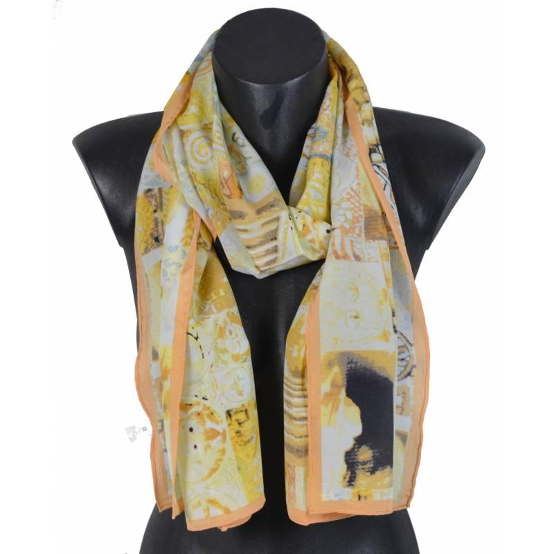 Echarpe en soie abstrait jaune