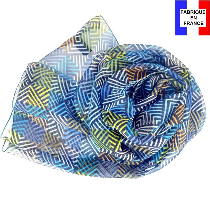 Foulard en soie losanges bleu made in France