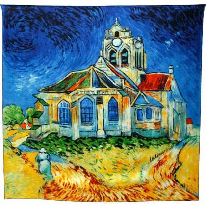 Foulard carré motif tableau Eglise Van Gogh