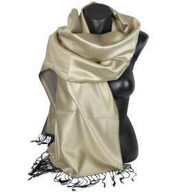 Etole en soie réversible beige perlé et noir