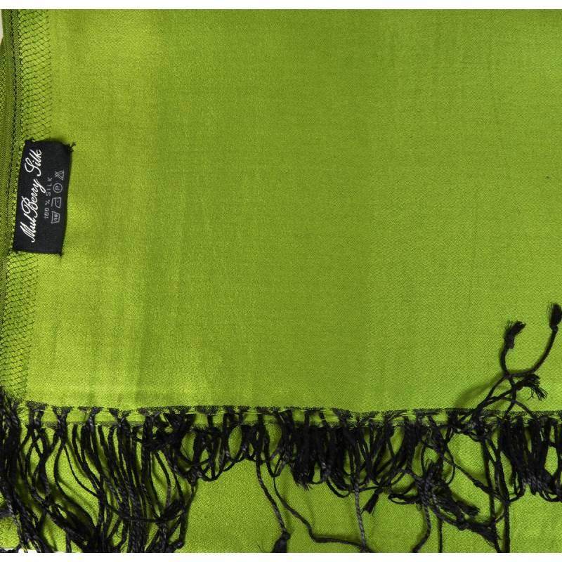 Etole en soie réversible vert avocat et noire