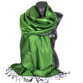 Etole en soie réversible vert prairie et noire