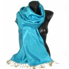 Etole en soie indienne bleu clair - beige
