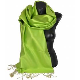 Etole en soie réversible verte et beige