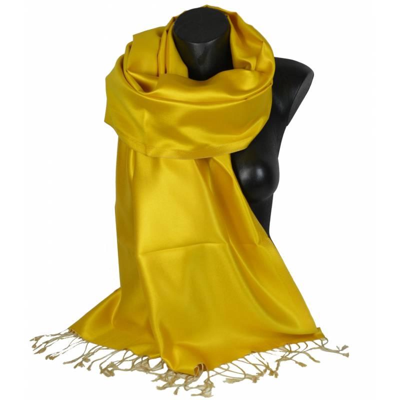 Etole en soie indienne jaune et beige