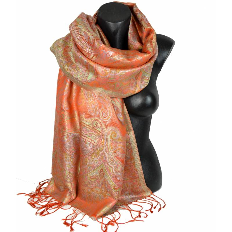 Pashmina en soie antique jacquard orange