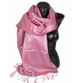 Pashmina en soie antique jacquard rose
