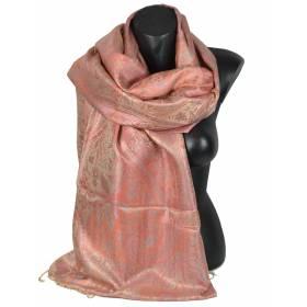 Pashmina en soie antique jacquard rose et beige