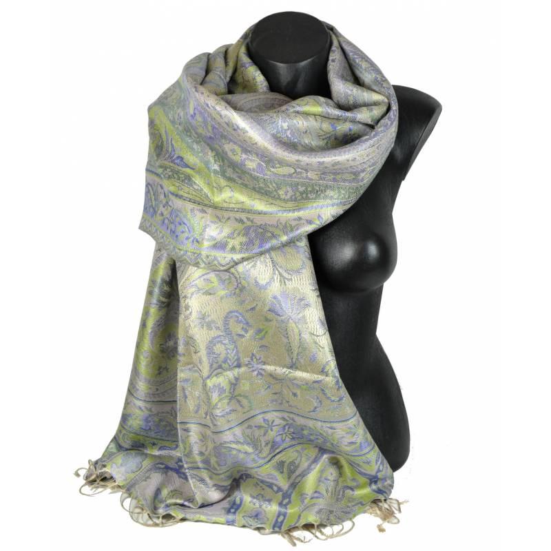 Pashmina en soie antique gris bleu vert