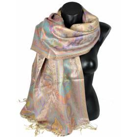 Pashmina en soie antique beige
