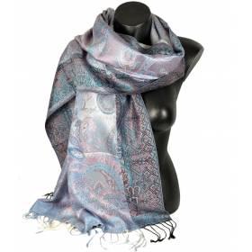 Pashmina en soie antique grise et rose