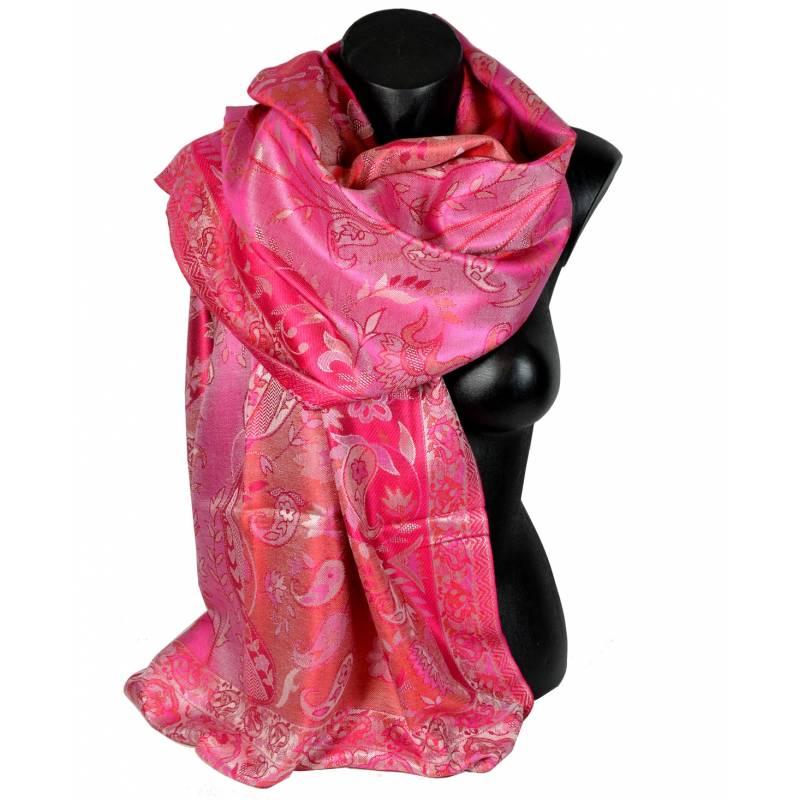 Pashmina en soie antique rouge et écru